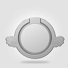 Sony Xperia Z5 Premium用スタンドタイプのスマートフォン ホルダー マグネット式 ユニバーサル バンカーリング 指輪型 Z18 シルバー
