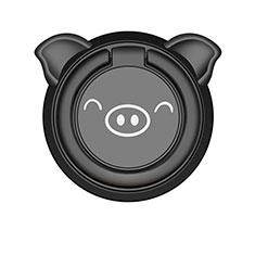 Huawei Nova 3e用スタンドタイプのスマートフォン ホルダー マグネット式 ユニバーサル バンカーリング 指輪型 S20 ブラック