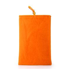 LG Q52用ソフトベルベットポーチバッグ ケース ユニバーサル オレンジ