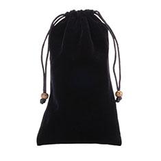 高品質ソフトベルベットポーチバッグ ケース ユニバーサル ブラック
