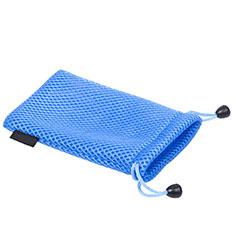 Huawei Nova 3e用高品質ソフトベルベットポーチバッグ ケース ユニバーサル S03 ネイビー