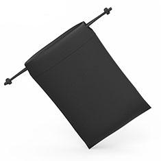 Huawei Y560用高品質ソフトベルベットポーチバッグ ケース ユニバーサル S04 ブラック