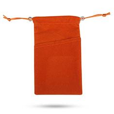 Vivo Y12s用ソフトベルベットポーチバッグ ケース イヤホンを指したまま ユニバーサル オレンジ