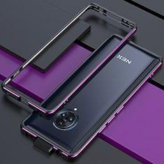 Vivo Nex 3用ケース 高級感 手触り良い アルミメタル 製の金属製 バンパー カバー Vivo パープル