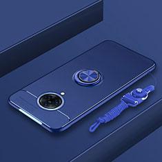 Vivo Nex 3用極薄ソフトケース シリコンケース 耐衝撃 全面保護 アンド指輪 マグネット式 バンパー A01 Vivo ネイビー