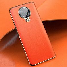 Vivo Nex 3用シリコンケース ソフトタッチラバー レザー柄 カバー Vivo オレンジ