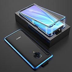 Vivo Nex 3用ケース 高級感 手触り良い アルミメタル 製の金属製 360度 フルカバーバンパー 鏡面 カバー M08 Vivo ネイビー