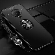 Vivo Nex 3用極薄ソフトケース シリコンケース 耐衝撃 全面保護 アンド指輪 マグネット式 バンパー A02 Vivo ブラック