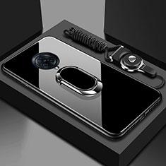 Vivo Nex 3用ハイブリットバンパーケース プラスチック 鏡面 カバー アンド指輪 マグネット式 Vivo ブラック
