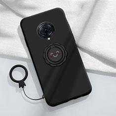 Vivo Nex 3用極薄ソフトケース シリコンケース 耐衝撃 全面保護 アンド指輪 マグネット式 バンパー A04 Vivo ブラック