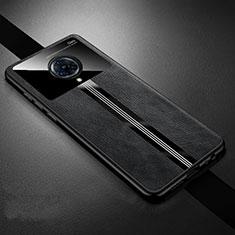 Vivo Nex 3用シリコンケース ソフトタッチラバー レザー柄 カバー S06 Vivo ブラック
