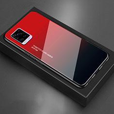 Vivo V20用ハイブリットバンパーケース プラスチック 鏡面 カバー Vivo レッド