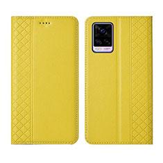 Vivo V20 Pro 5G用手帳型 レザーケース スタンド カバー Vivo イエロー