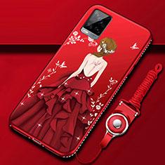 Vivo V20 Pro 5G用シリコンケース ソフトタッチラバー バタフライ ドレスガール ドレス少女 カバー Vivo レッド