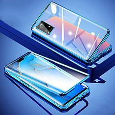 Vivo V20 Pro 5G用ケース 高級感 手触り良い アルミメタル 製の金属製 360度 フルカバーバンパー 鏡面 カバー M01 Vivo ネイビー