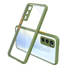 Vivo V20 SE用ハイブリットバンパーケース クリア透明 プラスチック 鏡面 カバー Vivo オリーブグリーン