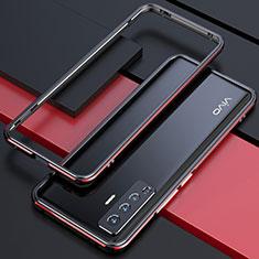Vivo X50 5G用ケース 高級感 手触り良い アルミメタル 製の金属製 バンパー カバー Vivo レッド・ブラック