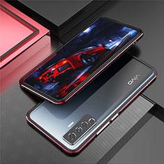 Vivo X50 5G用ケース 高級感 手触り良い アルミメタル 製の金属製 バンパー カバー A01 Vivo レッド・ブラック