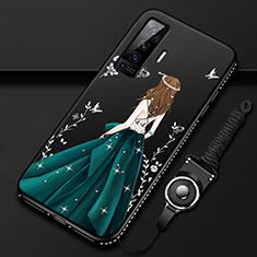 Vivo X50 5G用シリコンケース ソフトタッチラバー バタフライ ドレスガール ドレス少女 カバー Vivo グリーン
