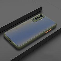 Vivo X50 5G用ハイブリットバンパーケース プラスチック 兼シリコーン カバー Vivo シアン