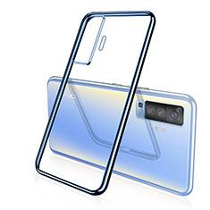 Vivo X50 5G用極薄ソフトケース シリコンケース 耐衝撃 全面保護 クリア透明 H04 Vivo ネイビー