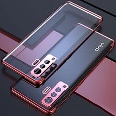 Vivo X50 5G用極薄ソフトケース シリコンケース 耐衝撃 全面保護 クリア透明 H05 Vivo レッド