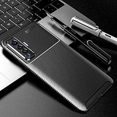 Vivo X50 5G用シリコンケース ソフトタッチラバー ツイル カバー Vivo ブラック