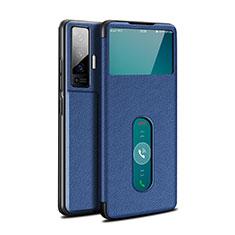 Vivo X50 5G用手帳型 レザーケース スタンド カバー Vivo ネイビー