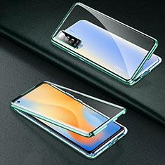 Vivo X50 5G用ケース 高級感 手触り良い アルミメタル 製の金属製 360度 フルカバーバンパー 鏡面 カバー M01 Vivo グリーン