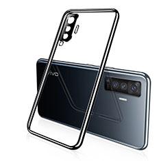Vivo X50 5G用極薄ソフトケース シリコンケース 耐衝撃 全面保護 クリア透明 H02 Vivo ブラック
