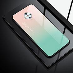 Vivo X50 Lite用ハイブリットバンパーケース プラスチック 鏡面 カバー Vivo グリーン
