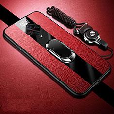 Vivo X50 Lite用シリコンケース ソフトタッチラバー レザー柄 アンド指輪 マグネット式 Vivo レッド