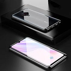 Vivo X50 Lite用ケース 高級感 手触り良い アルミメタル 製の金属製 360度 フルカバーバンパー 鏡面 カバー M01 Vivo ブラック