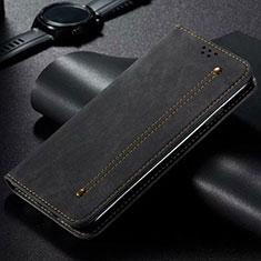 Vivo X50 Lite用手帳型 布 スタンド Vivo ブラック
