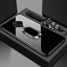 Vivo X50 Lite用ハイブリットバンパーケース プラスチック 鏡面 カバー アンド指輪 マグネット式 Vivo ブラック