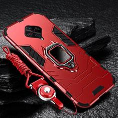 Vivo X50 Lite用ハイブリットバンパーケース プラスチック アンド指輪 マグネット式 Vivo レッド