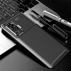 Vivo X50 Pro 5G用シリコンケース ソフトタッチラバー ツイル カバー Vivo ブラック