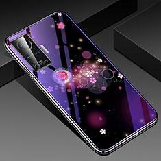 Vivo X50 Pro 5G用ハイブリットバンパーケース プラスチック 鏡面 花 カバー Vivo パープル
