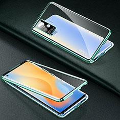 Vivo X50 Pro 5G用ケース 高級感 手触り良い アルミメタル 製の金属製 360度 フルカバーバンパー 鏡面 カバー M01 Vivo グリーン