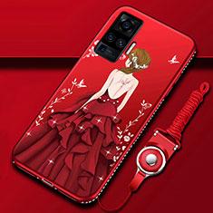 Vivo X51 5G用シリコンケース ソフトタッチラバー バタフライ ドレスガール ドレス少女 カバー Vivo レッド