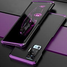 Vivo X51 5G用ケース 高級感 手触り良い アルミメタル 製の金属製 カバー Vivo パープル