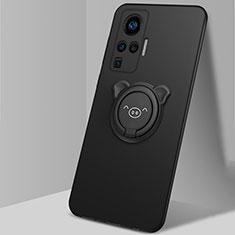 Vivo X51 5G用極薄ソフトケース シリコンケース 耐衝撃 全面保護 アンド指輪 マグネット式 バンパー A01 Vivo ブラック