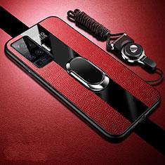 Vivo X51 5G用シリコンケース ソフトタッチラバー レザー柄 アンド指輪 マグネット式 Vivo レッド