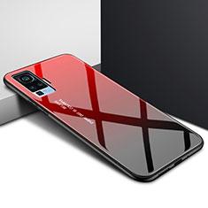 Vivo X51 5G用ハイブリットバンパーケース プラスチック 鏡面 カバー Vivo レッド