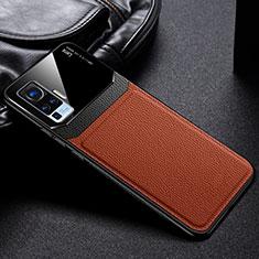 Vivo X51 5G用360度 フルカバー極薄ソフトケース シリコンケース 耐衝撃 全面保護 バンパー S01 Vivo ブラウン