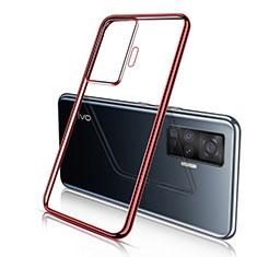 Vivo X51 5G用極薄ソフトケース シリコンケース 耐衝撃 全面保護 クリア透明 H04 Vivo レッド