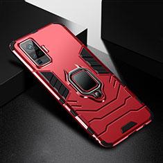 Vivo X51 5G用ハイブリットバンパーケース プラスチック アンド指輪 マグネット式 Vivo レッド