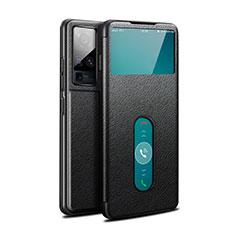 Vivo X51 5G用手帳型 レザーケース スタンド カバー Vivo ブラック