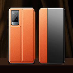 Vivo X60 5G用手帳型 レザーケース スタンド カバー Vivo オレンジ