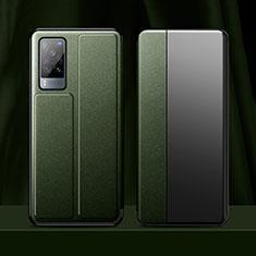Vivo X60 5G用手帳型 レザーケース スタンド カバー Vivo モスグリー